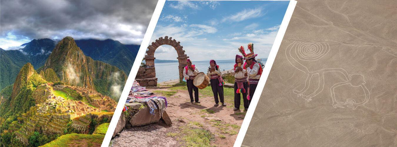 Machu Picchu , Lago Titicaca , Líneas de Nazca
